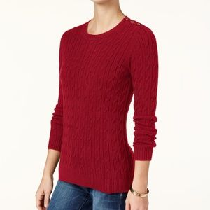 Charter Club Sweater Cable-Knit Button Detail Red